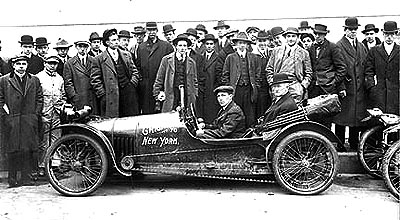 Chicago to New York Auto Race, circa 1913.  While information about this event is elusive, the back of the print includes some handwritten notes about the vehicle depicted. It is a 1913 Imp Cyclecar with two cylinders, 10 to 12 horsepower, and a maximum speed of 50 miles per hour. It sold new for $375.  Cyclecars -- simple, economical vehicles that worked on the same principles as a bicycle -- were relatively new in 1913, and a New York-based cyclecar club was established in December of that year.  Chicago to New York Auto Race, circa 1913.  The Byron Collection, 93.1.1.496.  The Museum of the City of New York.